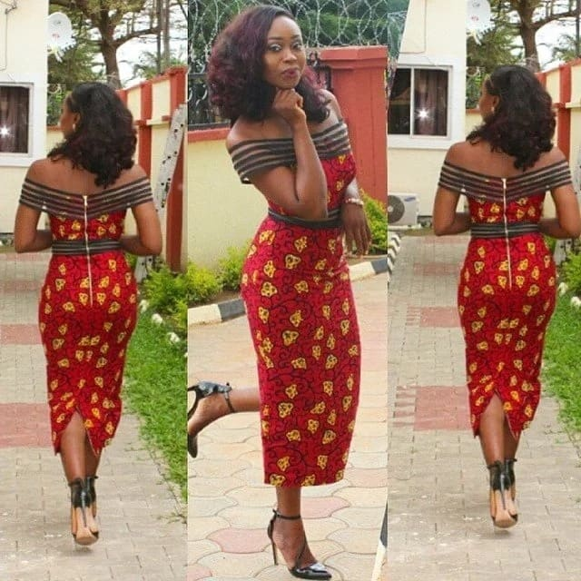 Fitted Ankara straight gown
