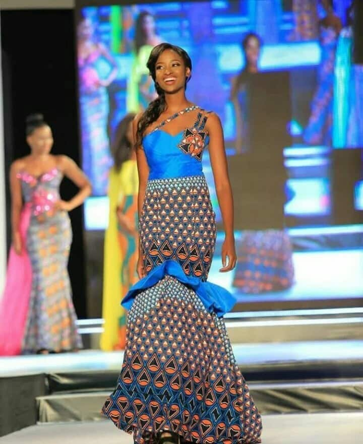 Ankara gown with a train (photo from Miss Africa 2017)