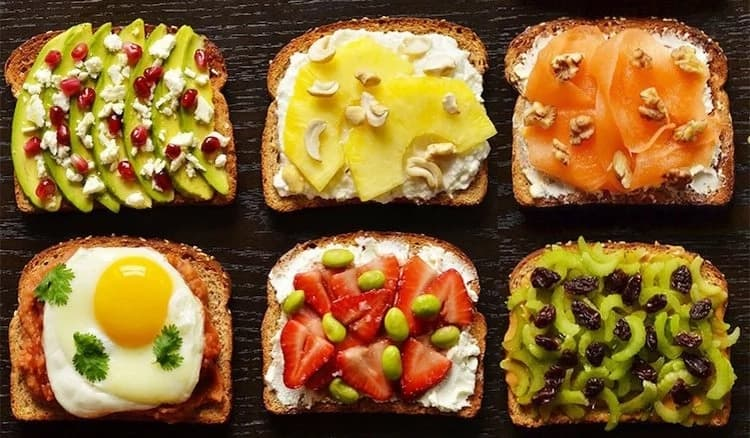 Delicious toast slices with different toppings