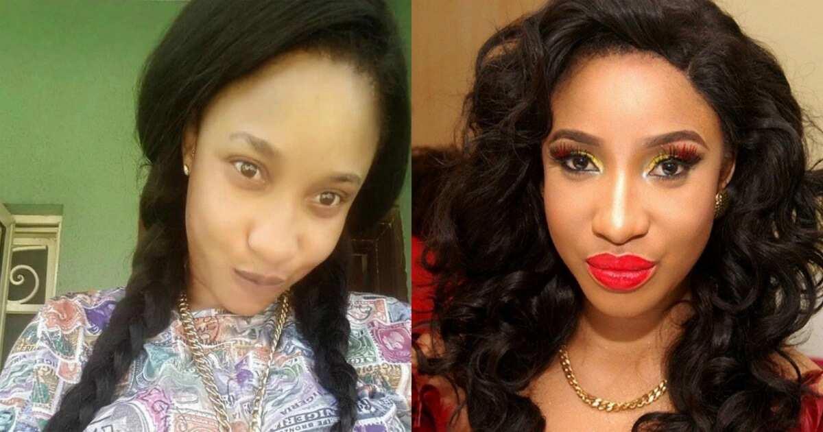 Tonto Dikeh with and without makeup