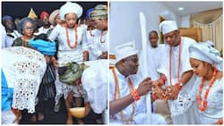 Photos from Ooni of Ife's wedding to his 25-year-old bride, she looks stunning in her white attire
