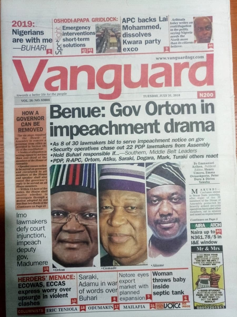 Newspaper review: Benue state governor, Samuel Ortom in impeachment drama
