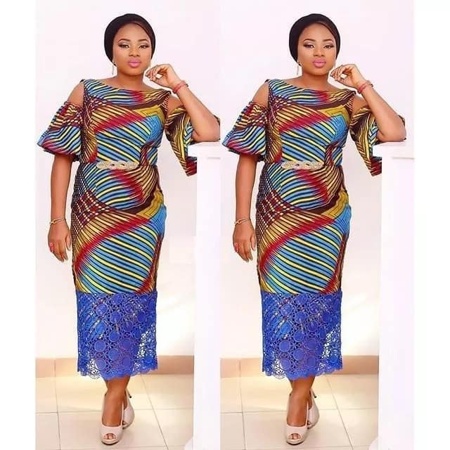 Ankara straight dresses with lace inserts