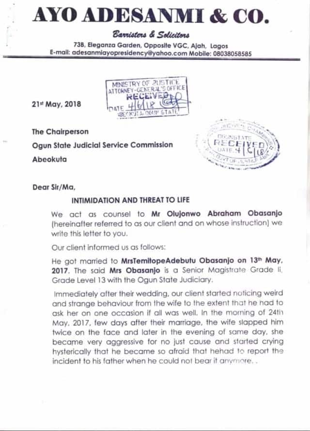 One year after their wedding, Olusegun Obasanjo's son drags wife to court over domestic violence - Court documents reveal