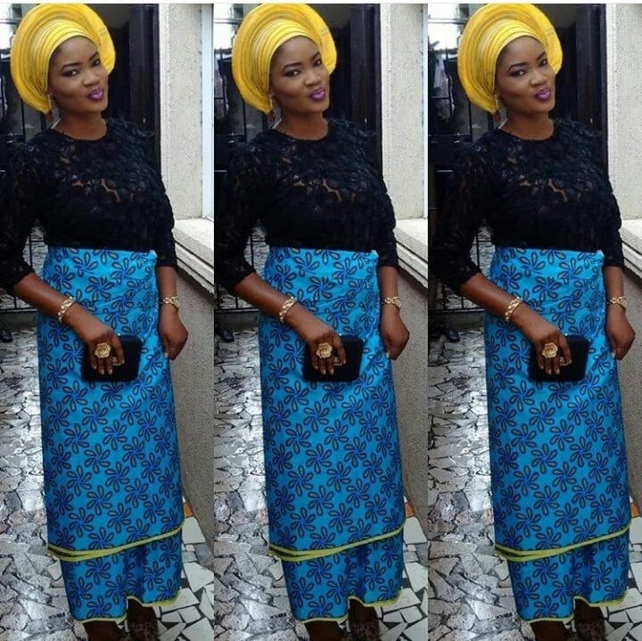 Lace blouse and ankara wrapper styles 2017