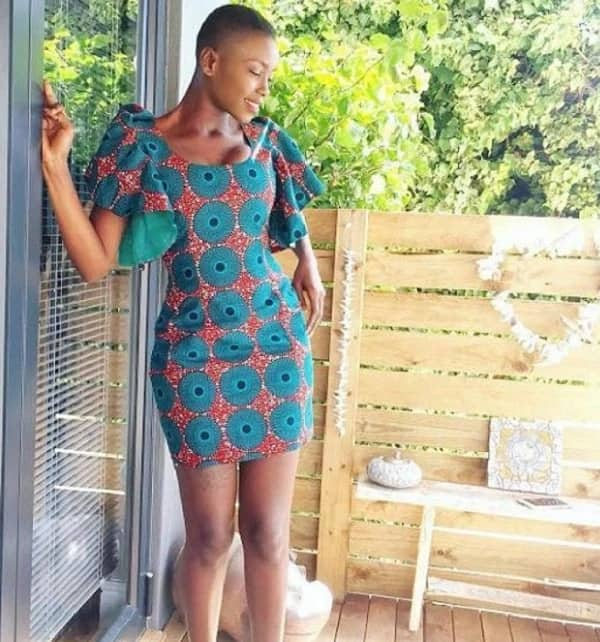Short Ankara turquoise dress with print