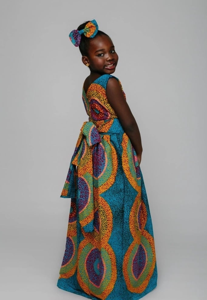 Ankara long gown with abstract pattern