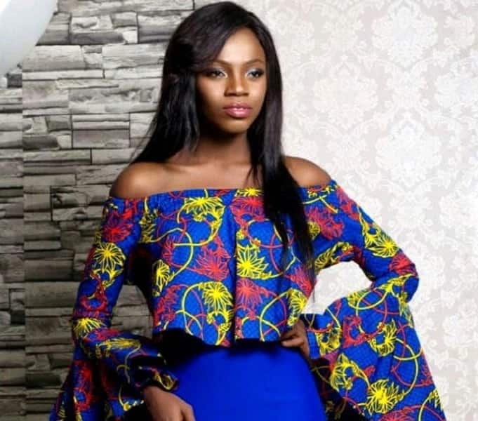 Cold shoulder Ankara festive top with flared sleeves