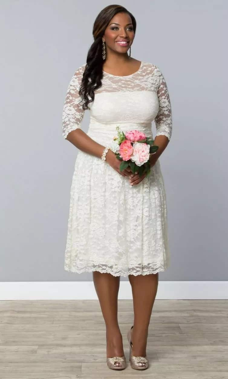 White French lace plus size gown