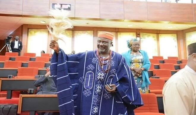 Dino Melaye shows up at the National Assembly in full traditional regalia