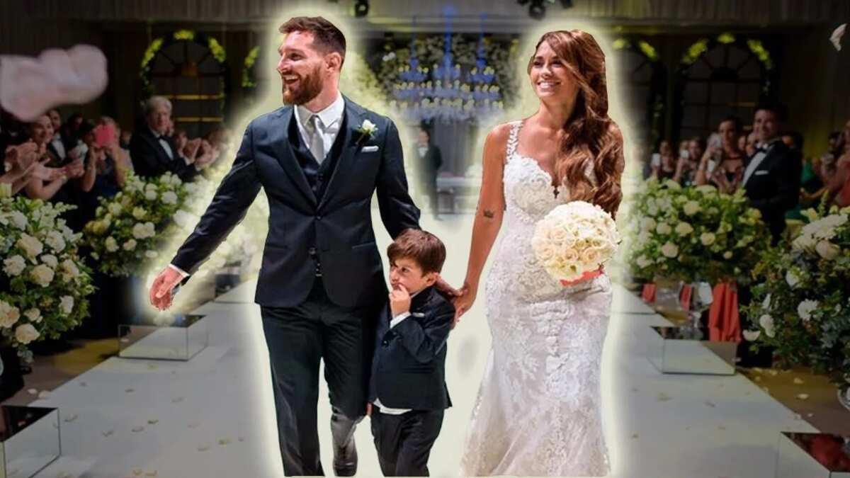 Lionel Messi and Antonella Roccuzzo with their elder son