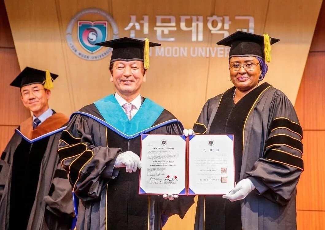 BREAKING: Sun Moon University confers Aisha Buhari with honorary doctorate degree (photos)