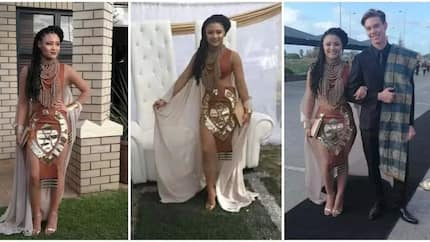 Girl steals the show at matric ball in beautiful cultural attire