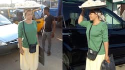Top actress Nadia Buari spotted 'hawking' on the streets of Lagos