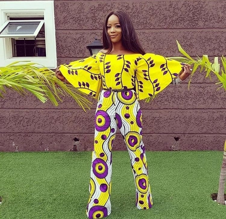 Ankara jumpsuit with flared sleeves