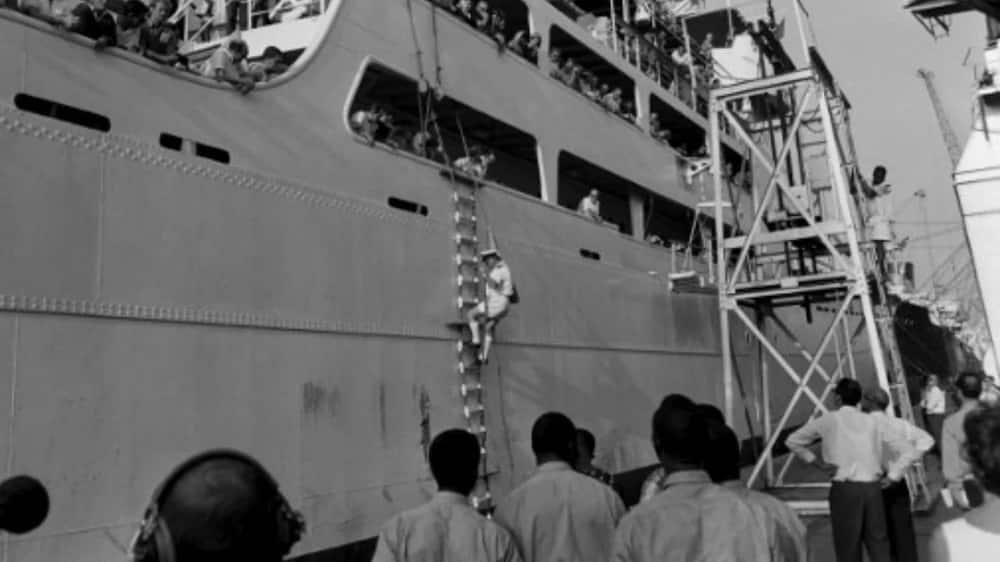 On July 24, 1967, European families prepare to be evacuated by boat from Port Harcourt