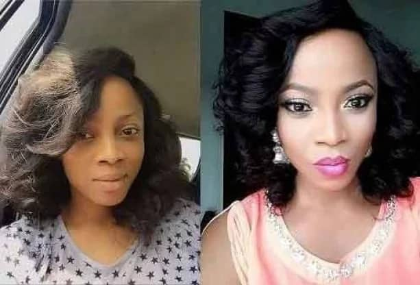 Toke Makinwa with make-up and without it