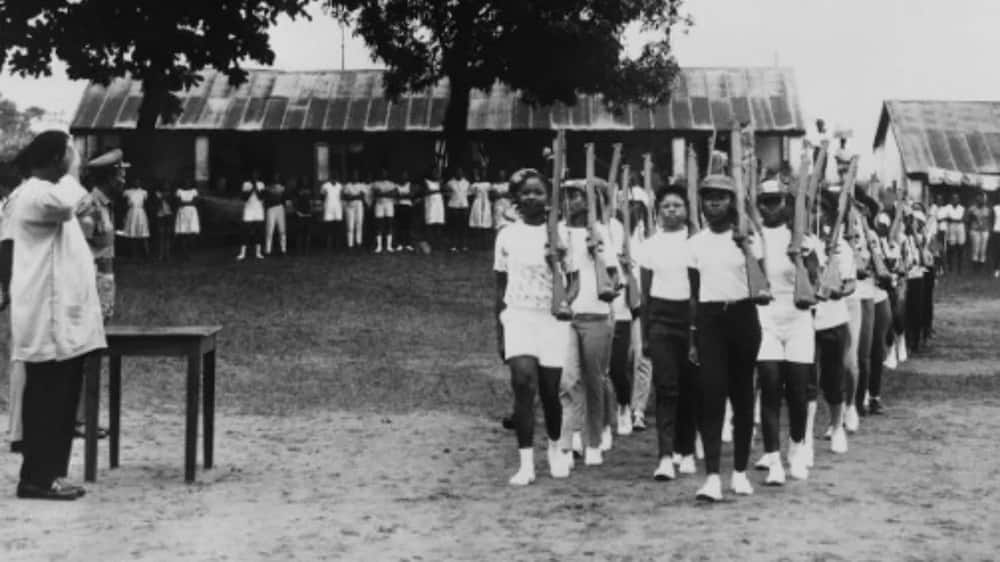 A parade of young militia women of the civil defence during a military training on August 17, 1967, in Enugu