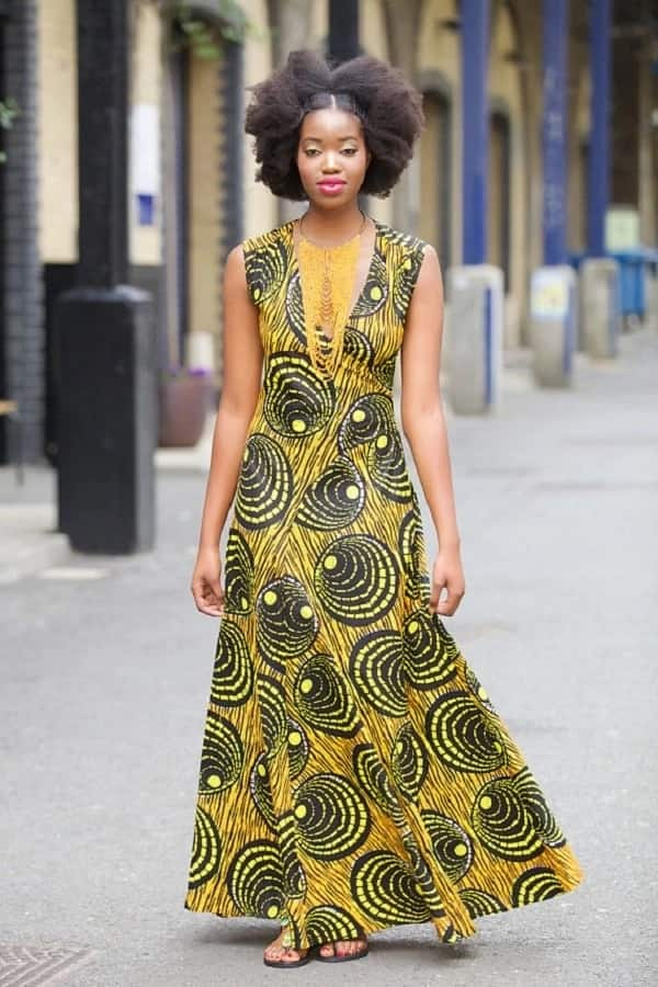 Ankara gown with a pointed V-shape neckline