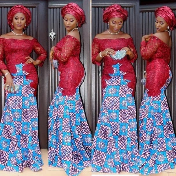 Ankara and lace long gown