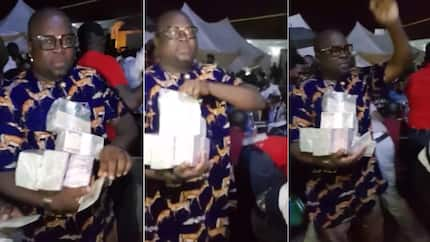 Nigerian billionaire Nwanta Anayoeze spotted spraying millions at the opening of his friend's hotel