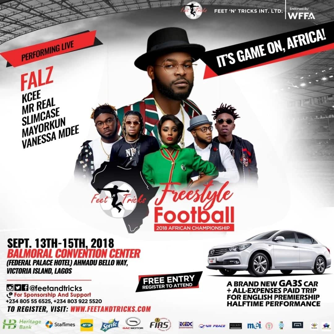 Falz, Mr Real, Mayorkun, Tonto Dikeh, Kate Henshaw, others to grace Freestyle Football Championship on Sep 13 – Live coverage on StarTimes