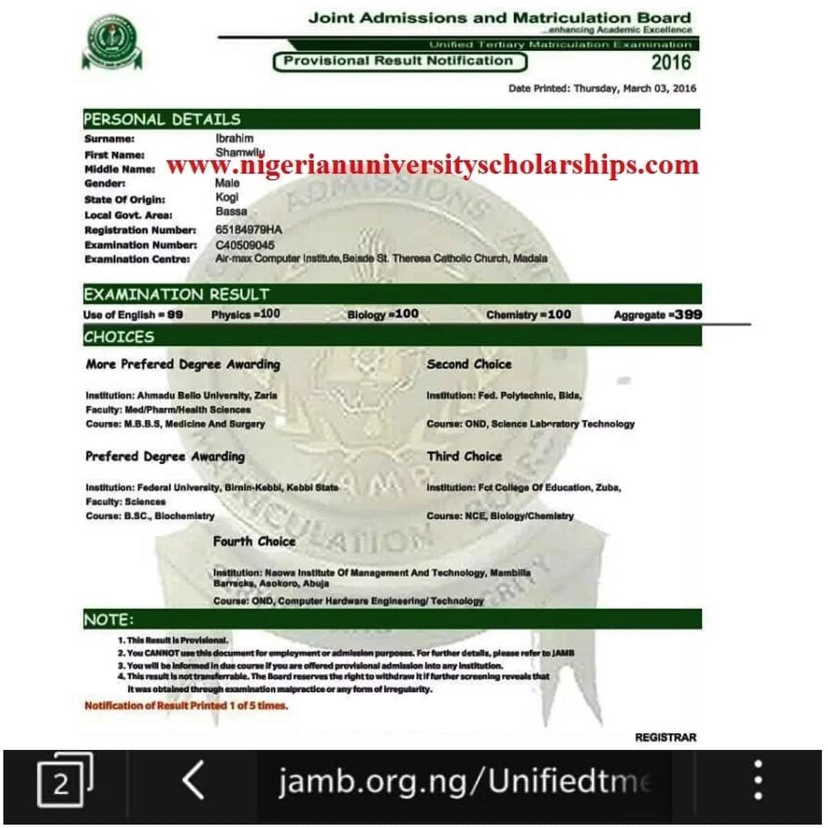 JAMB results