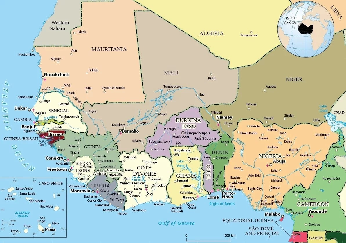 Countries Of West Africa Map.Countries Of West Africa Map Jackenjuul
