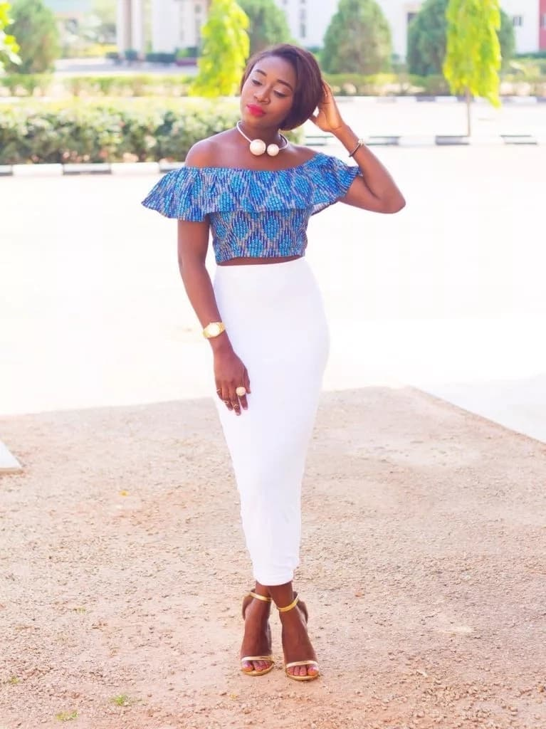 Cold shoulder Ankara crop top