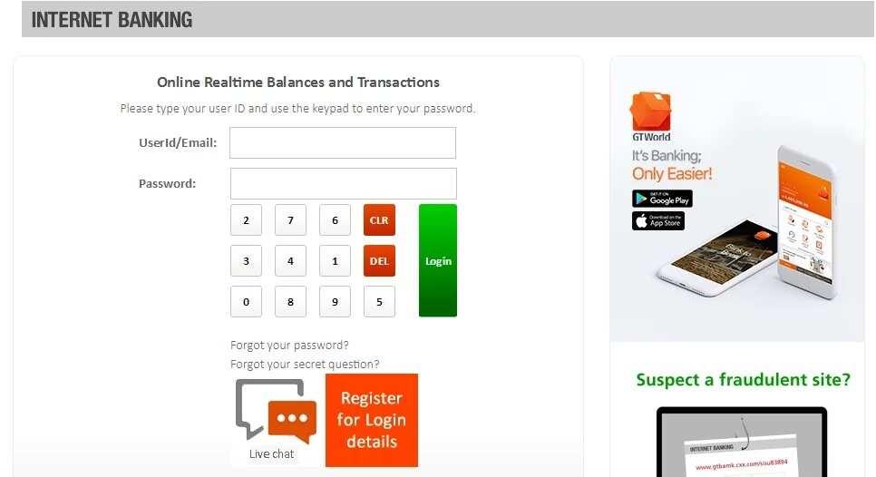 GTB Internet banking platform