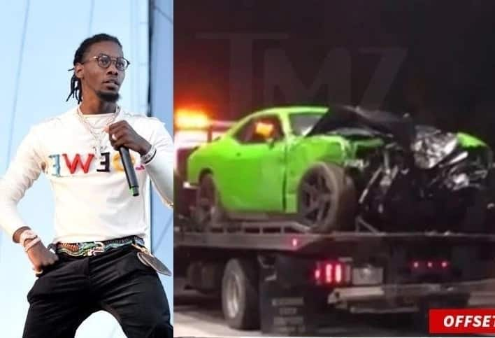 Rapper Offset car accident: his car after the accident