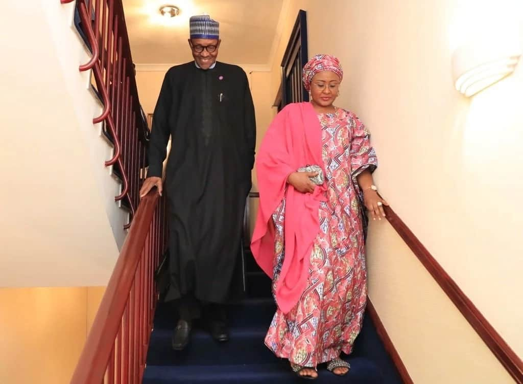 President Buhari and his wife Aisha departing after the dinner.