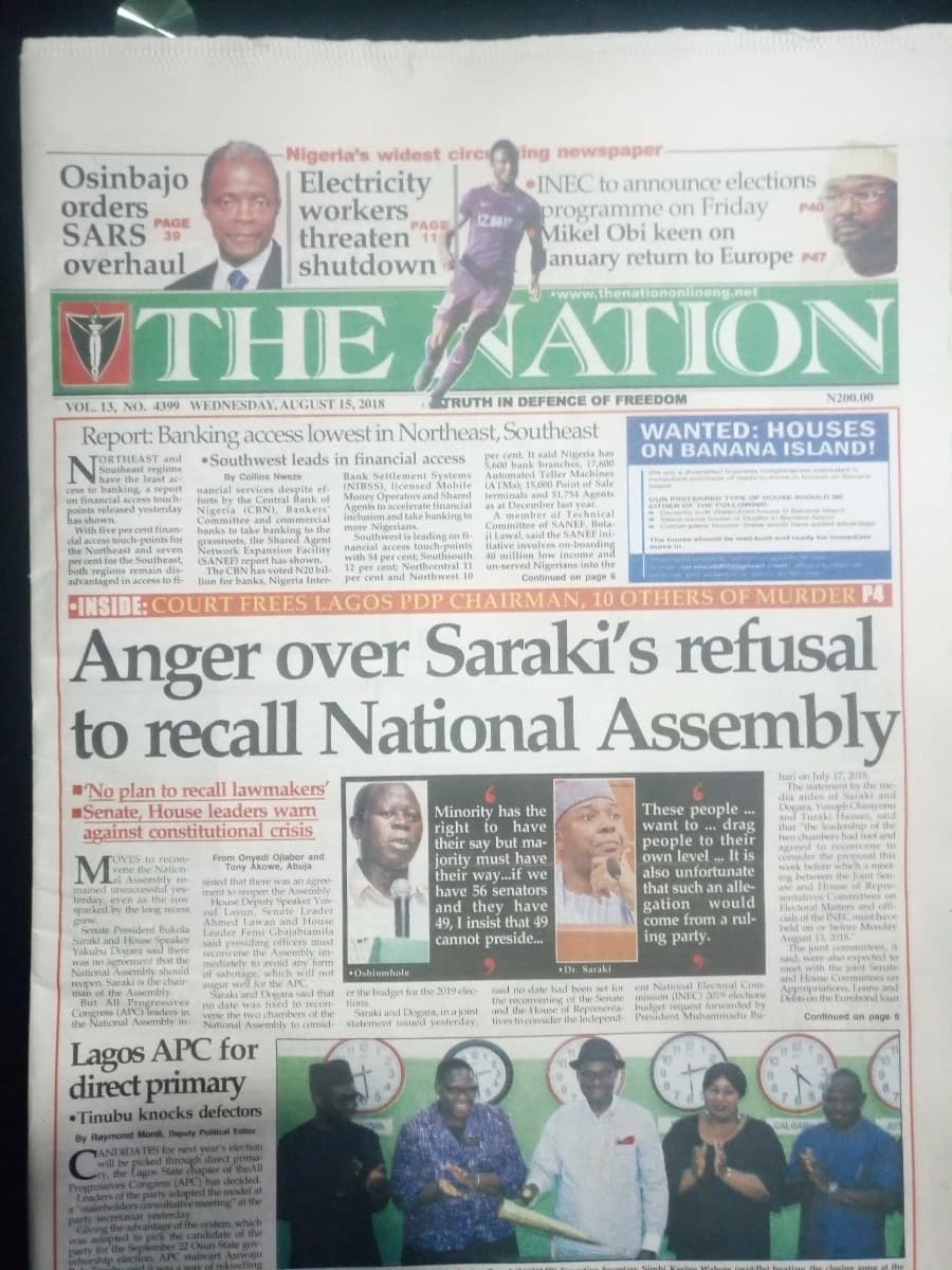 The Nation newspaper for Wednesday, August 15. Photo credit: Snapshot from Legit.ng.