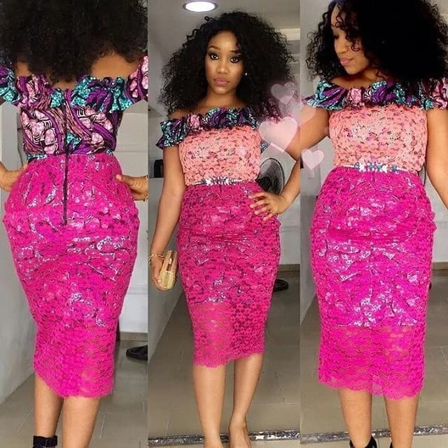 Ankara dresses with mix colored lace
