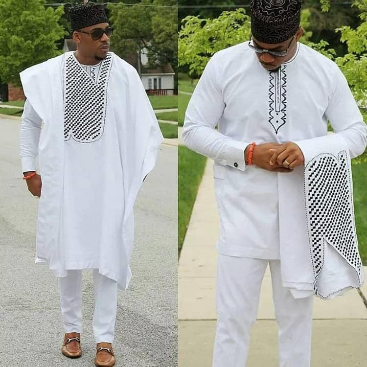 White Agbada tunic for guys
