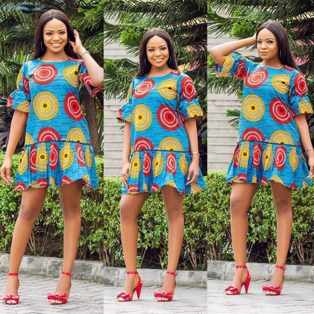 Perfect casual ankara gown with a bright pattern