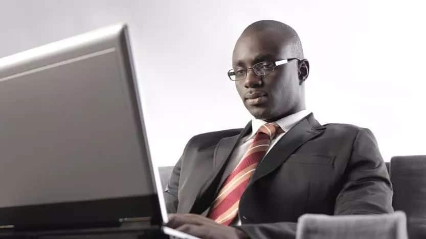 Focused man on laptop
