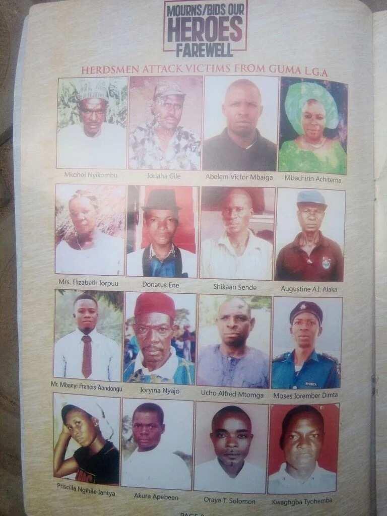 LIST: Names of 73 Benue indigenes killed in herdsmen attacks