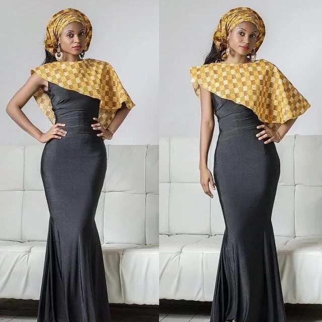 Long black dress with Ankara cape