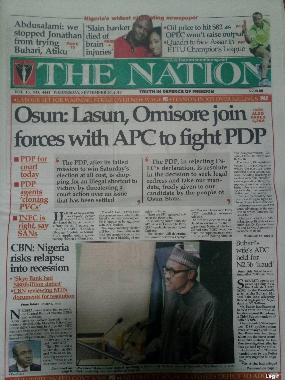 The Nation newspaper for Wednesday, September 26.Photo credit: Snapshot from Legit.ng.
