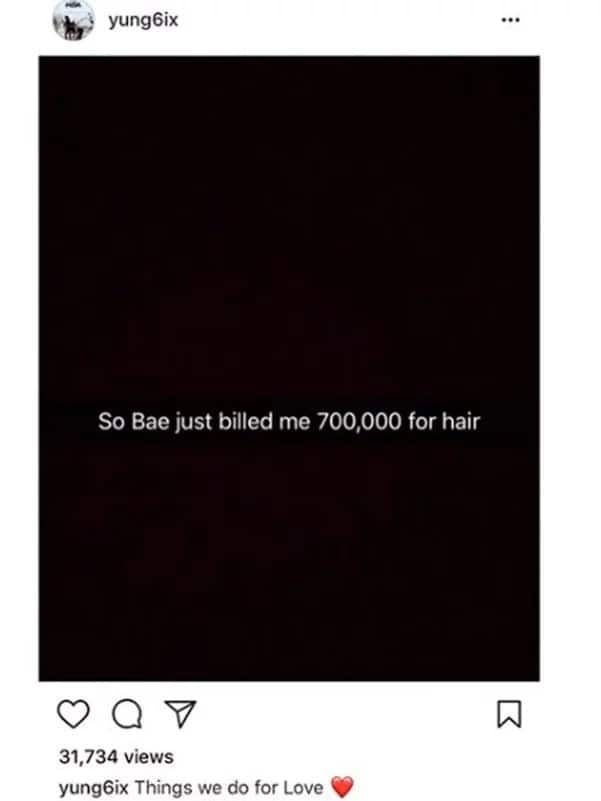 My girlfriend asked for N700,000 for hair and I gave her - Yung6ix