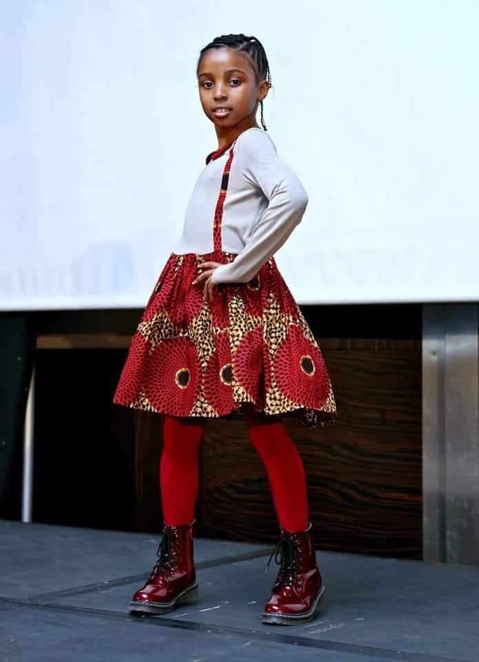 Ankara plain and pattern style for girls