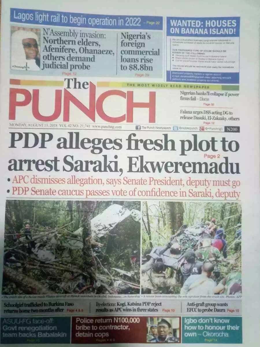 Newspaper headline for Monday, August 13
