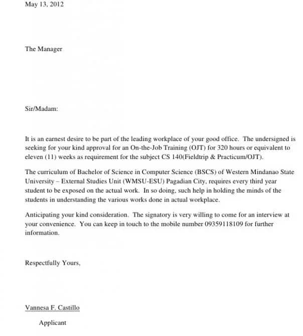 a sample of application letter