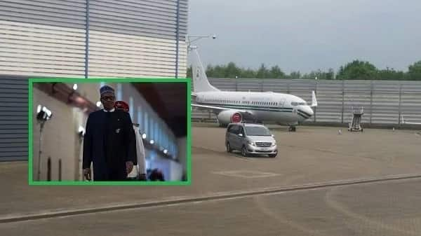 President Buhari's aircraft allegedly spotted parking in London
