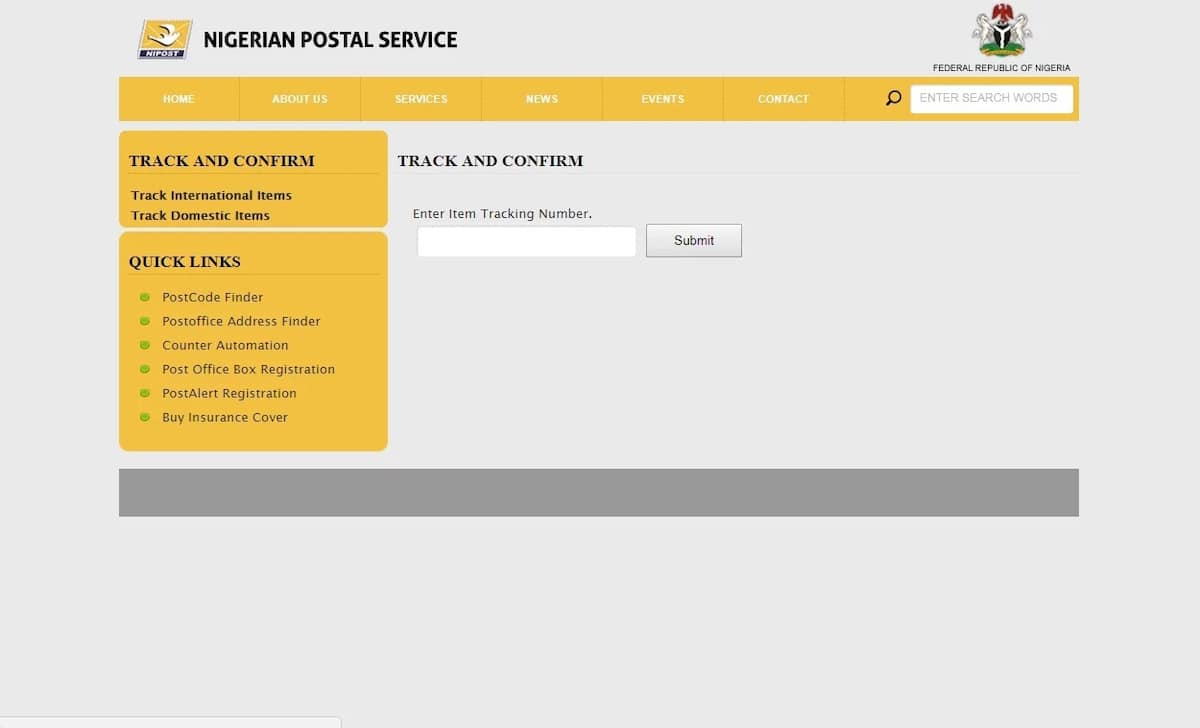 Nigeria post office tracking webpage