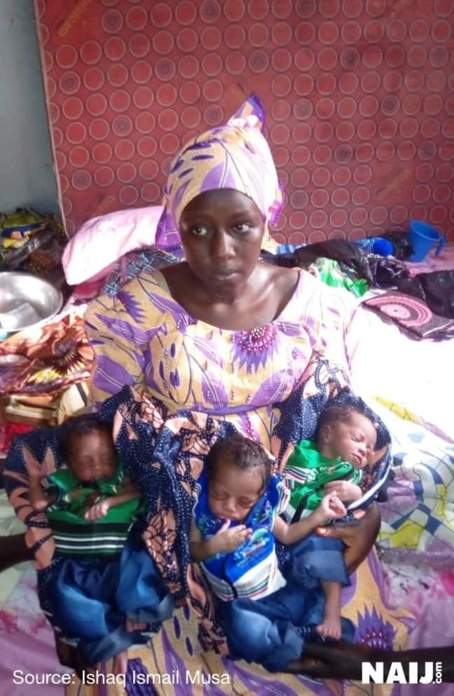 Exclusive: Adorable photos of triplets delivered by middle-aged woman in Kano