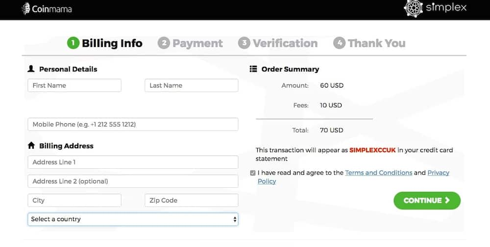 Billing address in online payment