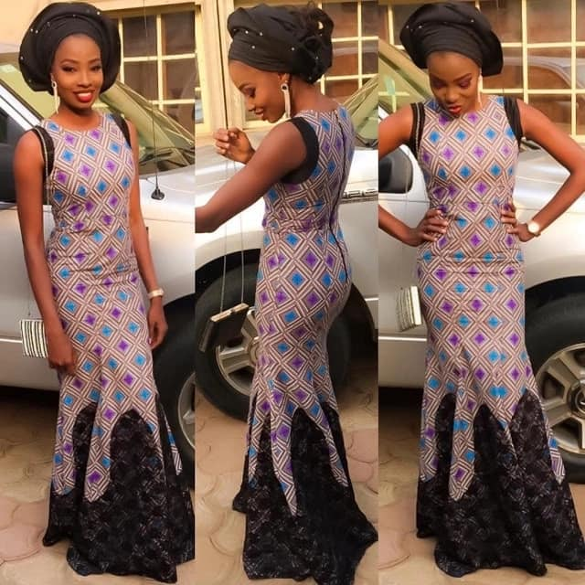 Ankara pastel colored dress with black lace decor