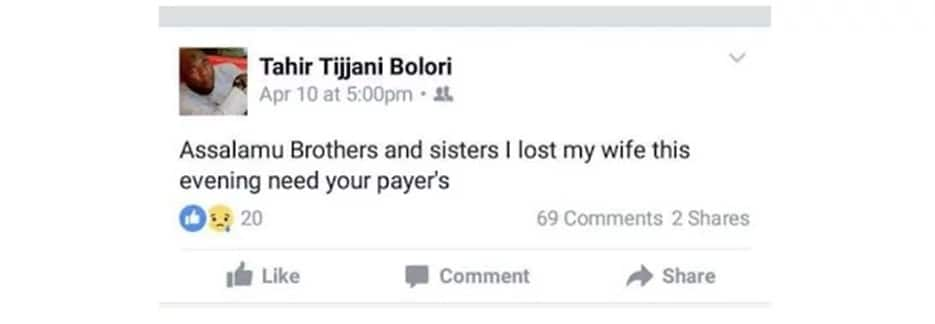 Nigerian man dies just hours after announcing wife's death on Facebook